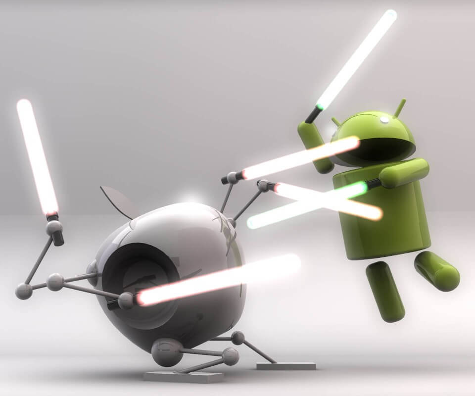Alien fight between Apple and Android