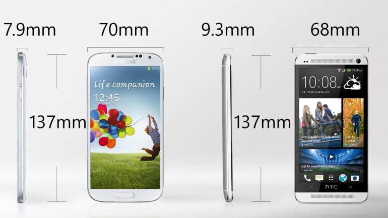 Samsung Galaxy S4 vs HTC One Handset Design (Look and Feel)