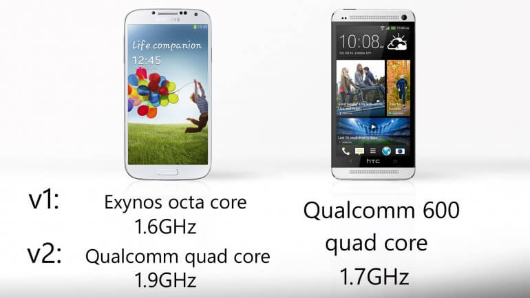Samsung galaxy S4 vs HTC One Processing and Performance