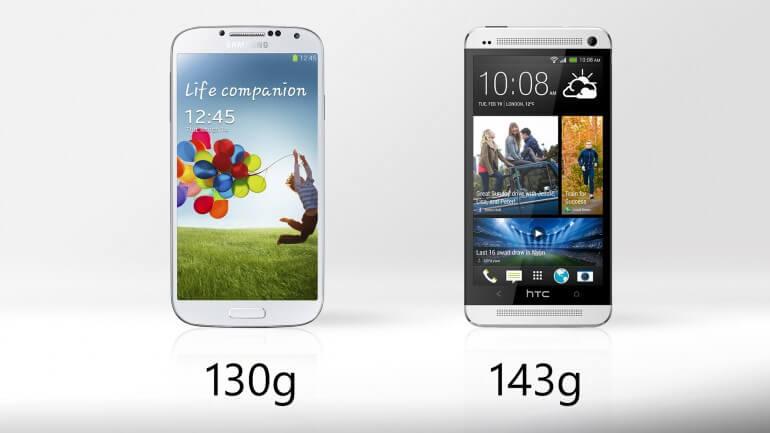 Samsung galaxy S4 vs HTC One - Weight