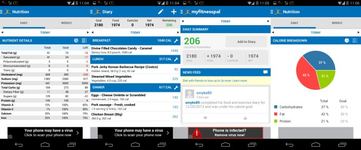 Calorie Counter My Fitness Pal Android Screenshots
