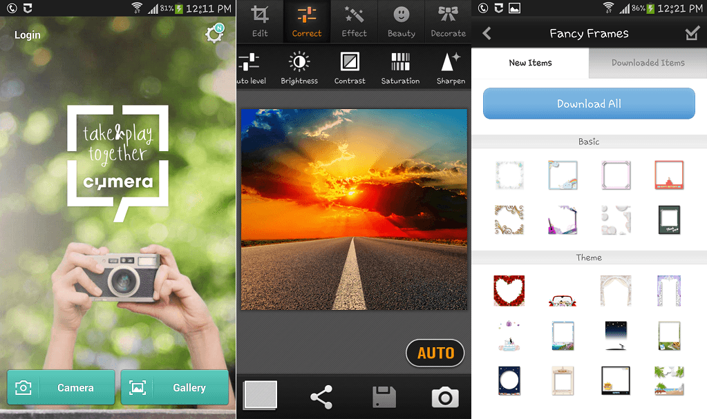 Cymera photo editing app for android