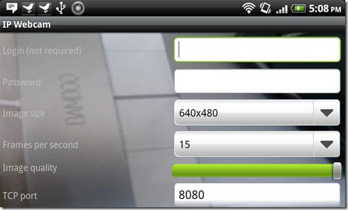 IP webcam settings