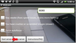 IP Webcam Start server
