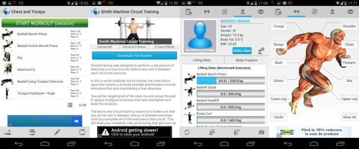 Jefit Android Screenshots