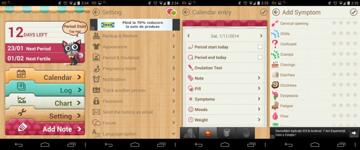 Period Calendar Android Screenshots