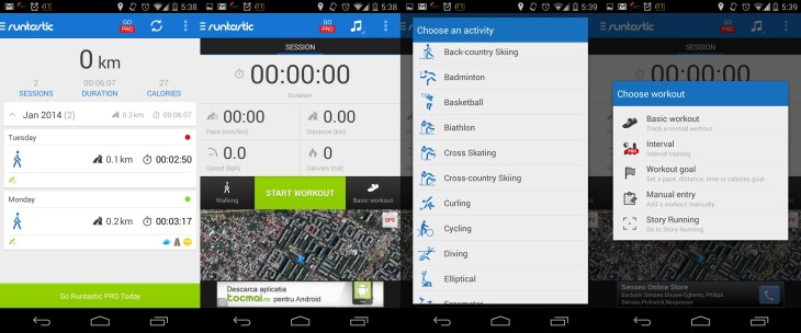 Runtastic Android Screenshots