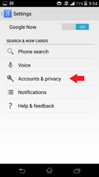 Accounts and privacy Google Now