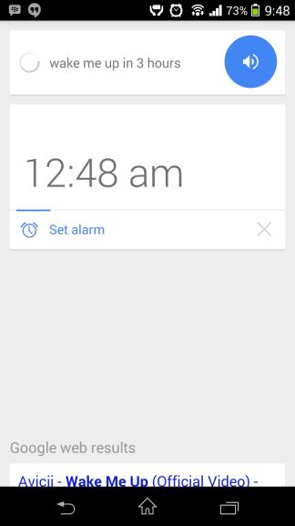 Alarm set Google Now