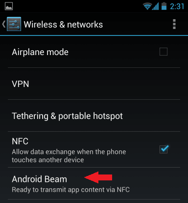 Android Beam enable