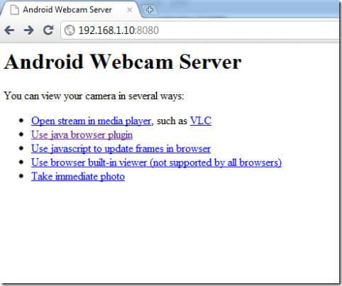 IP webcam Android Webcam Server