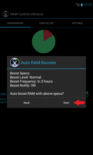 Auto ram booster start button