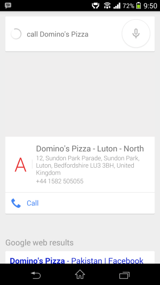 Call Dominos Google Now