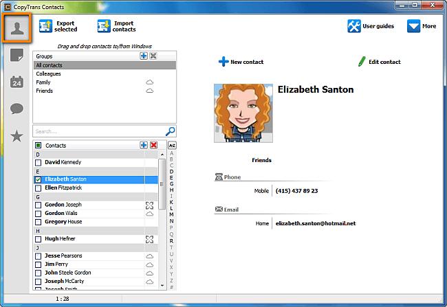 contacts in copytrans