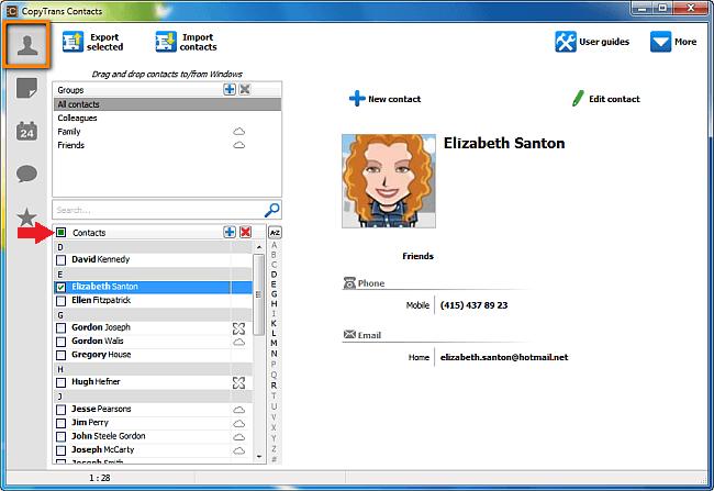 copytrans select contacts