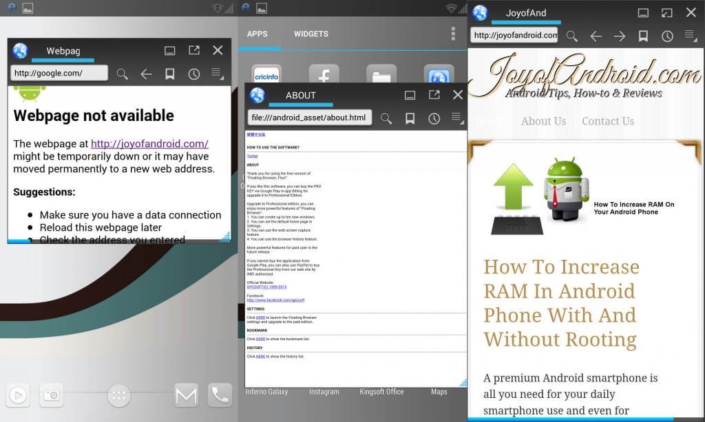 floating browser App