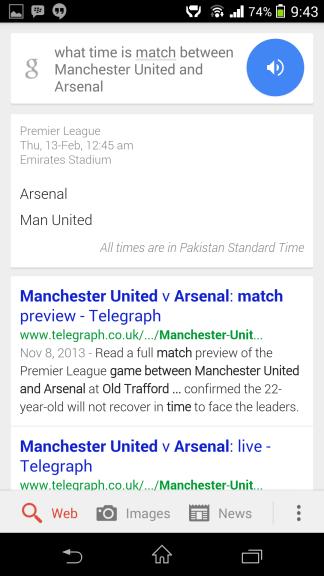 Football match Google Now