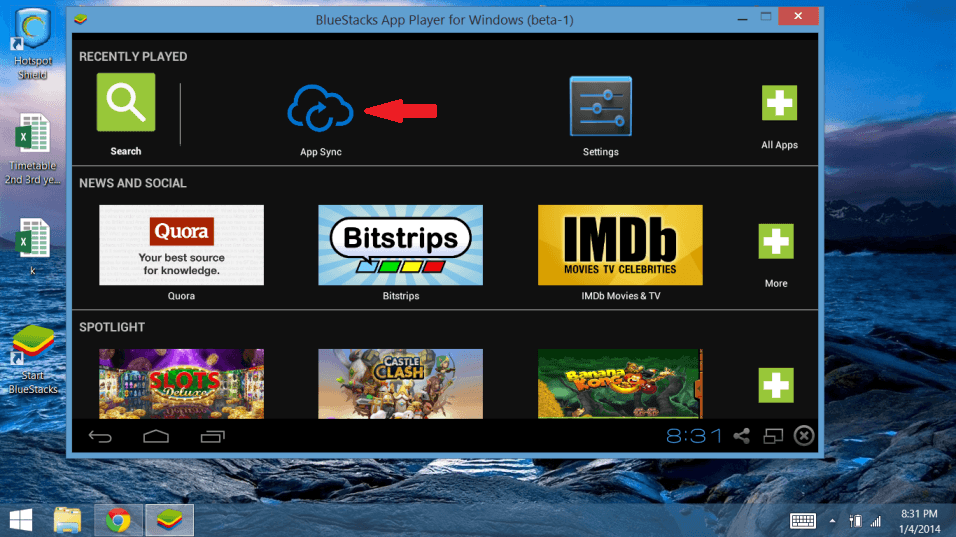 app sync for play Android games on PC computers bluestacks