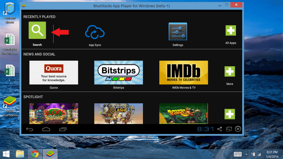 search in bluestacks to play Android games on PC computers