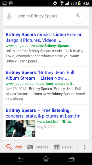 Listen to music Google Now
