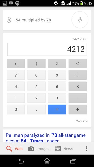 Math Calculation Google Now