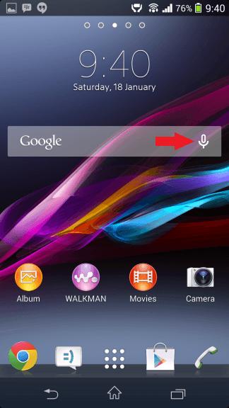 Microphone button Google widget