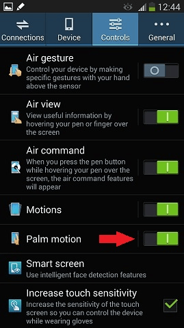 Note 3 palm motion
