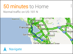 Traffic Card Google Now