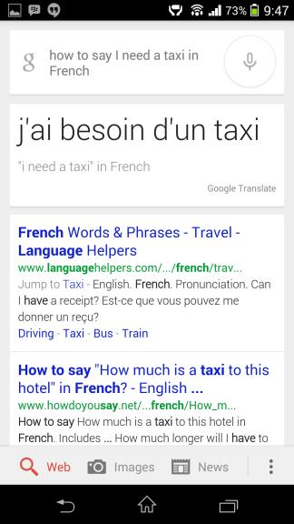 Translation French Google Now