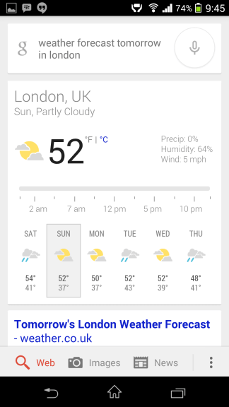 Weather in London Google Now
