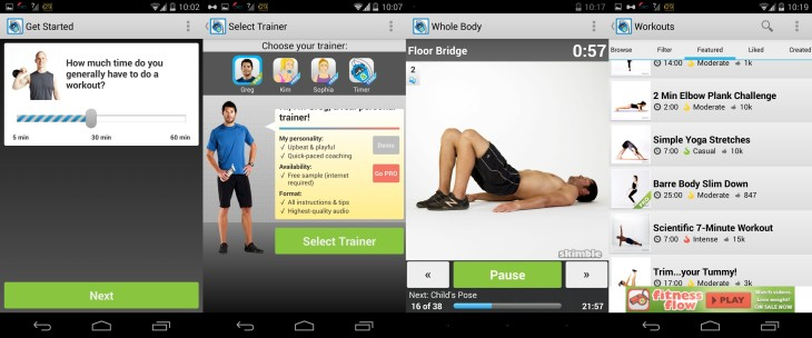 Workout Trainer Android Screenshots