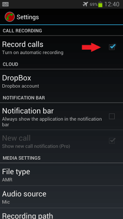 Auttomatic Call Recorder Enable