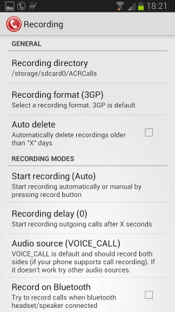 Call Recorder Recording Settings