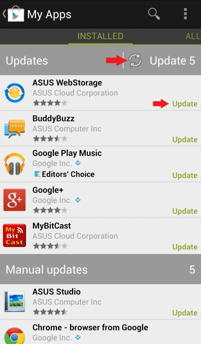 how to manually update apps on android
