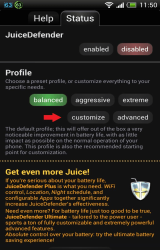 JuiceDefender Customize Advanced