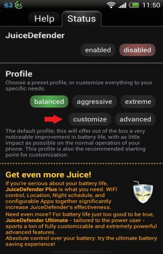 JuiceDefender Customize Advanced