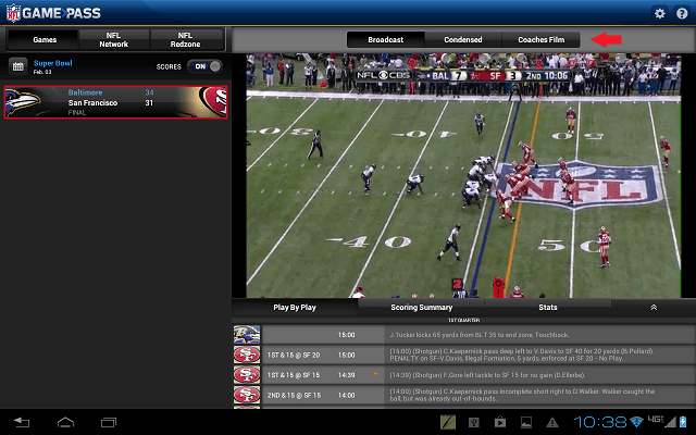 NFL Game Pass Broadcast