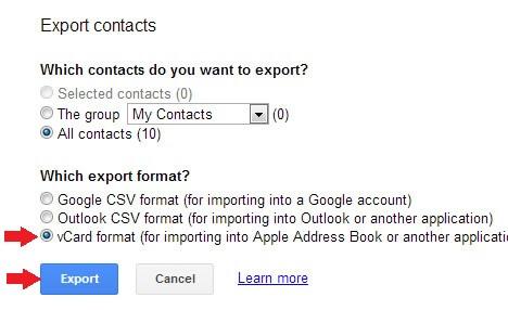 Export Contacts Format