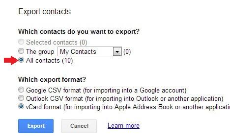 Export Contacts Google