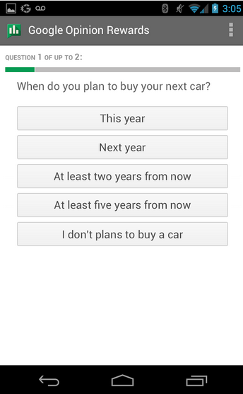 google opinion rewards questions