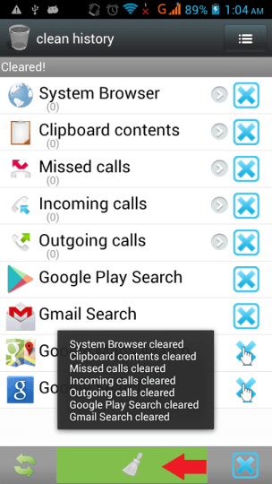 History Clear Privacy Clean Button