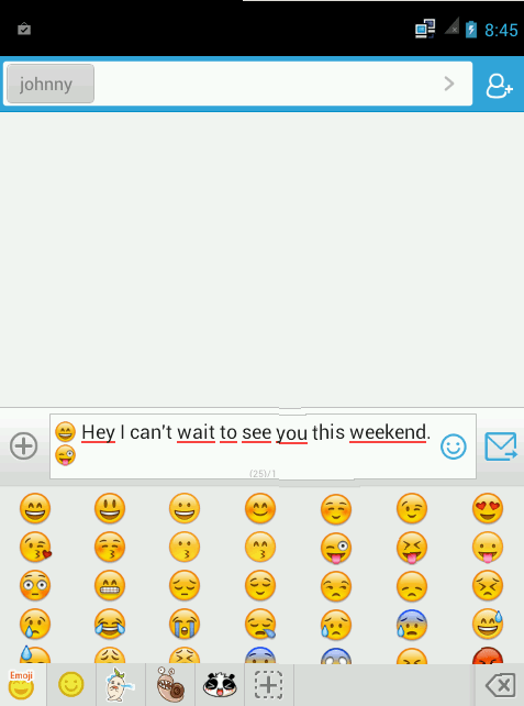 inserted emoji for go sms pro