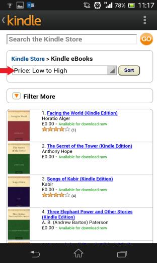 Kindle Sort Price