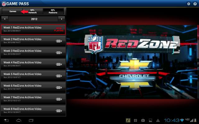NFL Games Tab