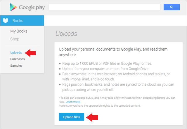 Play Books Upload Button