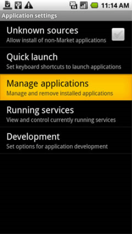 Settings Manage Applications