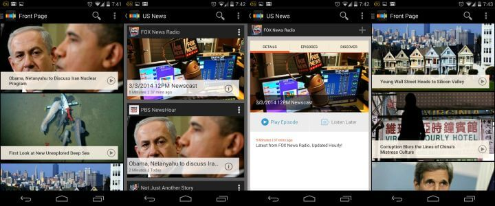 stitcher audio news Android