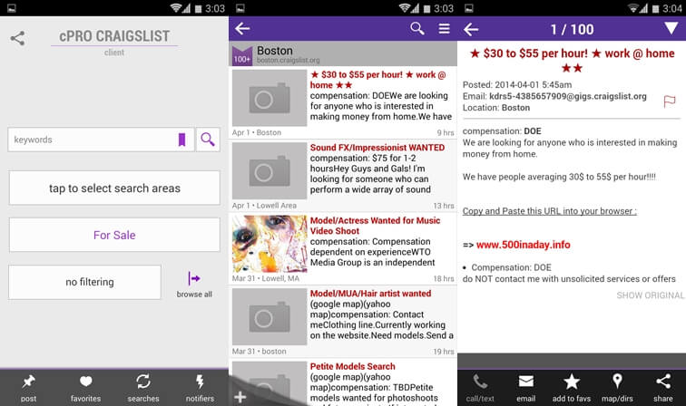 how to use craigslist app