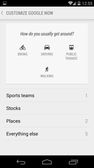 Google Now Customize