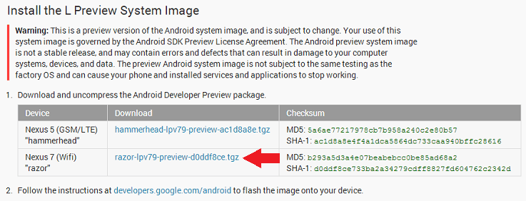 Android L Download